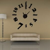 Home Decoration Mirror Wall Clock Modern Design 3D DIY Large Decorative