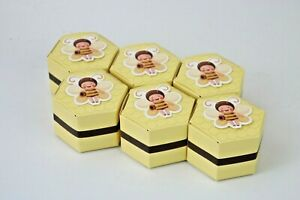 10 x Bee Honeycomb Baby Shower Gift Box Favour Sweets