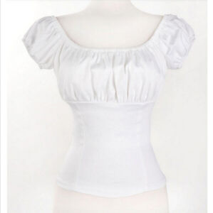Rockabilly Pinup White Peasant Tops Off Shoulder Blouse Sexy Shirt For Women