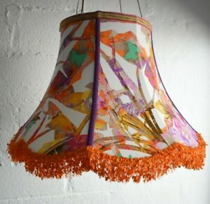 Super Large Bright Tropical Floral Statement Bell Lampshade - Handmade