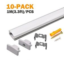 10 PACK 1M/3.3ft Aluminum LED Channel for LED Strip Lights InstallationEasy t...