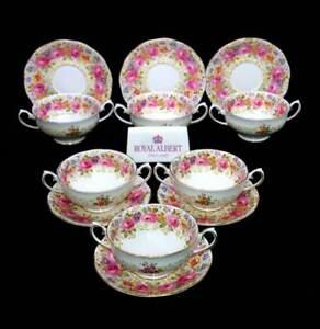 Vintage Royal Albert Serena set of 6 soup coupe bowls & saucer liners