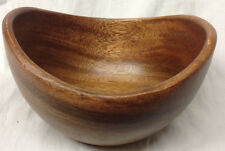 "CRATE  BARREL ACACIA WOOD INDIVIDUAL OVAL SALAD BOWL 585-157 PHILIPPINES 6"" LONG"