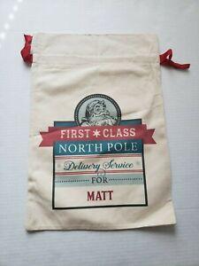 21 inch * 14 inch Matt Santa Sacks Canvas Bag Drawstring Christmas Kids Xmas