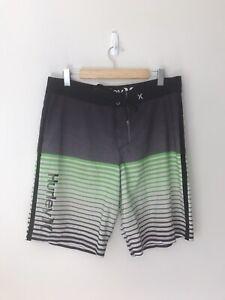 Hurley Men's Grey & Green Stripe Shorts - Size 34