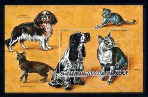 [93772] Central African Rep. 1986 Pets Dogs Cats Imperf. Sheet MNH