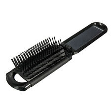 Travel Folding Hair Brush With Mirror Compact Pocket Size Comb Portable
