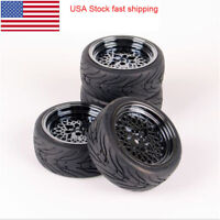 4Pcs Rubber Tires Mesh Wheel For HPI HSP  RC 1:10 On Road Street Touring Car