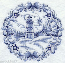 Delft Blue Christmas Lighthouse  SET OF 2 BATH HAND TOWELS EMBROIDERED BY LAURA