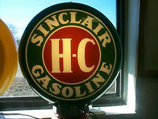 gas pump globe SINCLAIR H-C & LIGHT STAND NEW reproduction glass lenes