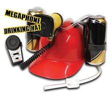 MEGAPHONE DRINKING HAT - Hands Free BEER HELMET 2 x Can Holder - RED