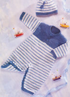 "Baby Knitting Pattern Striped Playsuit All in 1 & Tassel Beanie Hat 16"" - 22  DK"