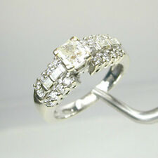 1423  Diamond Engagement Ring 1.48 ct. TW  14k  Solid White Gold Size 6 1/4