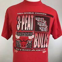 VTG CHICAGO BULLS NBA WORLD CHAMPS 3-PEAT 90s RED SINGLE STITCH T SHIRT L XL