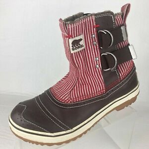 Sorel Waterproof Ankle Boots Cold Weather Warm Lining Brown Red White Womens 8