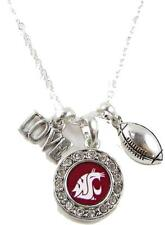 Washington State Cougars Multi Charm Love Football Silver Necklace Jewelry WSU