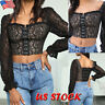Women's Sexy Floral Lace Long Sleeve Crop Tops Ladies Square Neck Blouse T-shirt