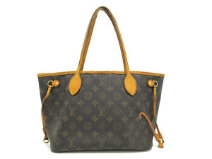 Authentic LOUIS VUITTON Monogram Neverfull PM M40155 Tote Bag Leather 93926