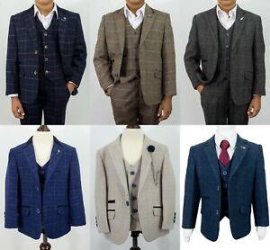 Boys Kids Childrens Peaky Blinders Tweed Check Wedding 3 Piece Suits Wool Blend