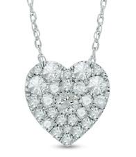 Zales Diamond Heart Cluster Pendant 10K White Gold TCW 0.5