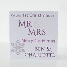 1st First Christmas Card as Newlyweds. Personalised Mr & Mrs Daughter Son In law