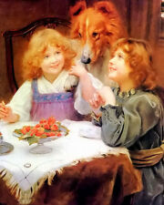 Oil painting arthur john elsley - young girls playing with dog high expectations