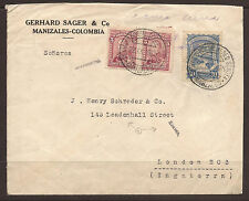 COLOMBIA. 1925. COMMERCIAL AIR MAIL COVER MANIZALES TO LONDON. GERHARD SAGER & C