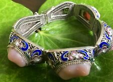 IMMACULATE AUTHENTIC OLD CHINESE EXPORT STERLING SILVER FILIGREE ENAMEL BRACELET