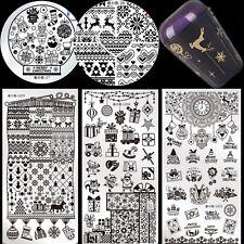 6Pcs Nail Art Stamping Image Plates Stamper W/2 Scrapers Harunouta Christmas Kit