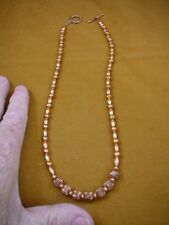 """(v500-1) shiny specialty genuine Copper metal textured bead 20"""" beaded Necklace"""