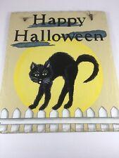 Happy Halloween Cartel Gato Negro-Pintado a mano-puerta, pared, fuera de arte.