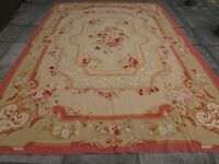 Old Hand Made French Design Wool 12x9 Beige Pink Original Aubusson 363X260cm