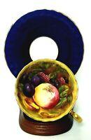 Aynsley Bone China Cobalt Blue Orchard Fruits Teacup & Saucer Signed  D. Jones