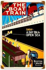 Vintage The Boat Train Boston Metal Sign Tourism Advertisement Travel Decor 316