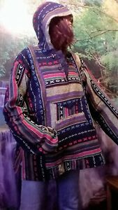 HOODY ABSTRACT WARM HIPPY NEPALESE BOHO FESTIVAL HOLIDAY ETHNIC CHIC SD131