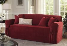 Sure Fit Loveseat Slipcover Everyday Chenille Box Style Seat Cushion Garnet