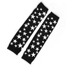 White Star Pattern Acrylic Fingerless Arm Warmers Long Gloves Black Pair Lady LW
