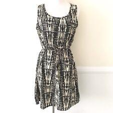 Indulge Go Go Apparels Womens Sleeveless Dress Size MEDIUM Black Cream Geometric