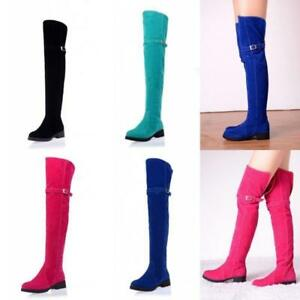 Womens Faux Suede Thigh High Boots Buckle Over The Knee Boots Flats Casual Shoes