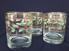 Set of 4 Double Old Fashioned Glasses Green Holly Holiday Gold 12 oz Royal Ltd