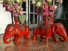 *ATTIC FIND*  PAIR OF VINTAGE 1950'S RED & BLACK POTTERY ELEPHANT POSY VASES