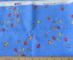 """Novelty Fabric Country Sue Dreamer Fish on Blue 44W x 32"""" L"""