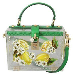 DOLCE & GABBANA Bag BOX Transparent Lemon Hand Painted Plexiglass Clutch Purse