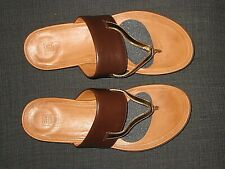 FITFLOPS DELTA BROWN GOLD LEATHER CUFF FLIP FLOP THONG SANDALS SHOES WOMENS SZ 8