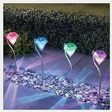 4 Pack Led Color Changing Outdoor Solar Diamond Stake Lights Garden Lawn Lamps