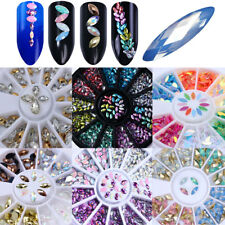 3D Mermaid Marquise Nail Studs Manicure Rhinestones Holographic Decoration