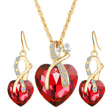 Red Heart Zircon Crystal Rhinestone Necklace Earrings Wedding Jewelry Sets