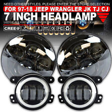 7in 160W Projector Round Car LED Headlight + W/halo LED Fog Lights Kits For Jeep
