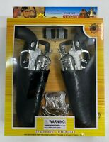 COMPLETE DOUBLE WESTERN PLAY GUN SET toy guns hoister belt cowboy NRA Kids USA