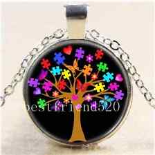 Black Autism Awareness Tree Cabochon Glass Tibet Silver Chain Necklace